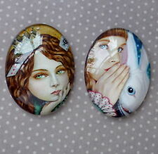 2 pcs 30x40mm Domed Oval Cabochons Character cabochon CH016