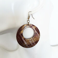 Vintage Boho Bohemian Hippy Wooden Cut Out Ring BROWN  Painting Dangle Earrings