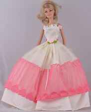 New Handmade Pink White  Dress Clothes Outfits For Barbie Doll #1009