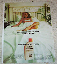 1970 ad page - Sea & Ski suntan SEXY GIRL in bed tanning Print vintage ADVERT