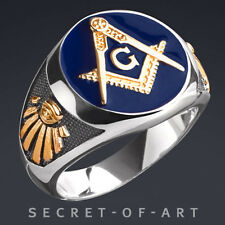Masonic Ring Blue Lodge 925 Silver with 24K-Gold-Plated Parts and All Seeing Eye