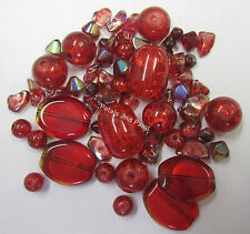 42 Glass Crackle & Bead Mix in Red Beads for Beading & Jewellery Making TAR060