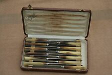 ANTIQUE FRENCH BROWN HORN & SILVER COLLARS 12 DINNER KNIVES CASED STAMPED 1900