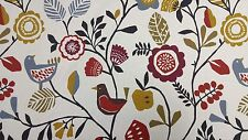 Clarke and Clarke Folki Indigo Cranberry Curtain Upholstery Craft Fabric