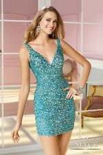 Alyce Paris Sexy Short Fully Beaded Turquoise Prom Evening Dress Sz 10 NWT