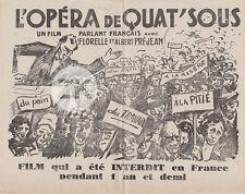L'OPERA DE QUAT'SOUS Film G.W. PABST Censure Chanson Misère Manif Populaire 1932