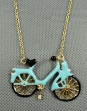 N47 Betsey Johnson Retro Baby Blue Bike Bicycle Cycle Cycling Necklace US