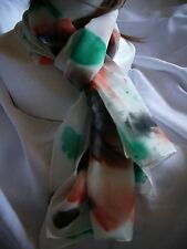 Silk Long Scarf Green/Salmon/Black Flowery unique design-handpainted Great gift