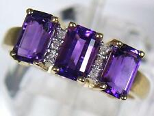 Vintage 9ct Gold 1.65 carat Emerald Cut Amethyst 6 Diamond Dress Ring U.K size M
