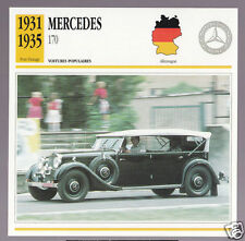 1931-1935 Mercedes 170 (Benz) Car Photo Spec Sheet French Card 1932 1933 1934