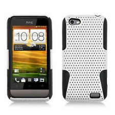 For HTC One V MESH Hybrid Silicone Rubber Skin Case Phone Cover White