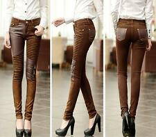 Ladies Pencil Pants Silm PU Leather Women Trousers Leggings Elastic bootcut B32