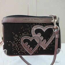 NWT COACH HEARTS POPPY SMALL WRISTLET 44856 BLACK