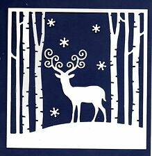 NEW LARGE  DEER IN WOODS SCENE FRAME DIE CUTS - WINTER TREE CHRISTMAS TOPPER