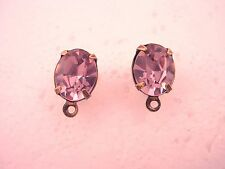 2 brass ox set oval 10x8 light amethyst hypo earring post top loop surgical