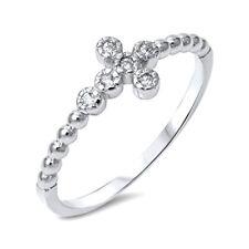 Silver Thin Sideways Cross Ring Sterling Silver 925 Best Deal Jewelry Size 4
