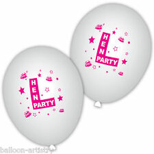 10 Hen Party Night L-Plate Fashion Style Star Lips White Printed Latex Balloons