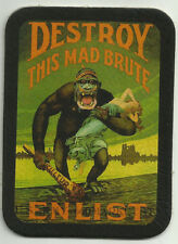LEATHER DESTROY THIS MAD BRUTE ENLIST WWI POSTER BIKER JACKET MILITARY PATCH