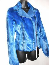 NEW Miss Sixty Electric Blue Cupid Faux Fur Jacket Size M RRP £229