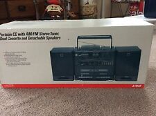 1990's BRAND NEW-OLD STOCK-GE Portable CD w/Dual Cassette & Speakers-BOOM BOX