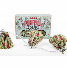 set of 10 coloured vintage retro style SUMMER PARTY FESTIVAL PARASOL LIGHTS
