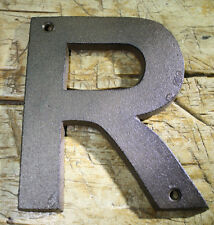 "Cast Iron Industrial LETTER R Sign Rustic Brown 5"" tall Alphabet"