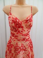 MONSOON ESME CORAL PEACH RUSSET SILK CHIFFON 50'S COCKTAIL DRESS 8 ONCE £135