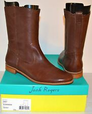 New $228 Jack Rogers Carly Chestnut Brown Flat Mid Calf Leather Boot sz 11