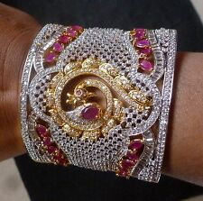 Exclusive Original Cubic Zirconia AD Ruby Openable Bangle Free Size Bracelet Hot