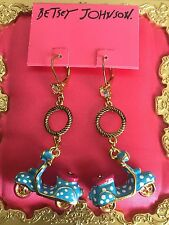 Betsey Johnson 60's Mod Retro GIRL POWER Blue Polka Dot Scooter Vespa Earrings