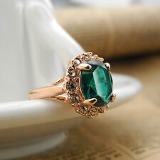 18K Rose Gold GP Emerald Green Swarovski Crystal Fashion Ring Elegant Jewellery