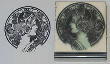 Art Deco Girl April rubber stamp perfect for ATCs!