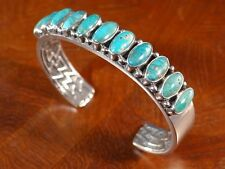 KIRK SMITH CLASSIC SINGLE ROW DEEP BLUE-GREEN TURQUOISE STERLING SILVER BRACELET