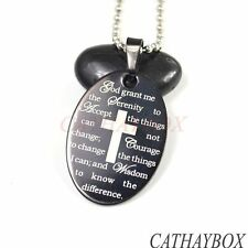 Black Stainless Steel English Serenity Prayer Oval Charm Pendant Necklace 20""