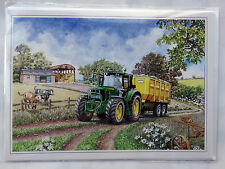 Nostalgic John Deere 6030 Series Trailer Tractor Design Happy Birthday Card