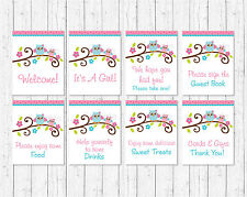 Pink Woodland Owl Baby Shower Table Signs - 8 Printable Signs