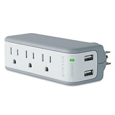 Belkin Wall Mount Surge Protector with USB Charger 3 Outlets 918 Joules Gray