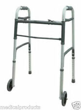 "Dual 2 Button Folding Walker with 5"" Wheels Heavy Duty Professional"