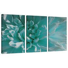 Set of Three Teal Blue Canvas Prints Pictures Floral Wall Art XXL 3103