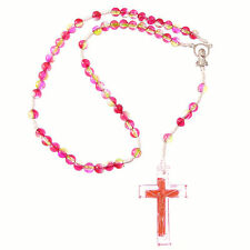 Small red green acrylic white cord rosary beads hand held prayer beads gift