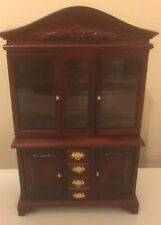 Dolls House Miniature 1/12th Scale Mahogany Wall Unit with Opening Cupboards