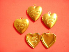"""4 PC LOT Rare Vintage Brass 26mm """"I Love You"""" Heart Lockets w/ Loop FREE"""