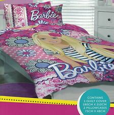 BARBIE FLOWERS FLORAL QUILT COVER SET DOUBLE NEW