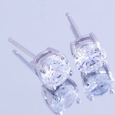 Womens Silver 6mm Big Round Crystal Stud Earings Lot Punk 14K White Gold Plated