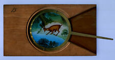 ANIMATED MAGIC LANTERN LEVER SLIDE / HAND PAINTED / DEER