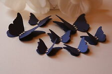 50 3D NAVY BLUE SHIMMER BUTTERFLY WEDDING CONFETTI TABLE DECORATION TOPPERS CARD