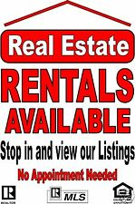 """Advertising Business Poster window /wall Sign 24""""X36"""" Real Estate Rentals Avail"""