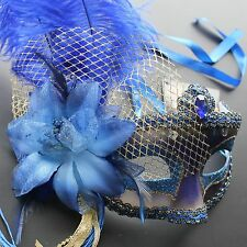 Royal Blue Star  Venetian Ostrich Feather Mask for  party Masquerade