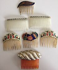 Vintage Hair Comb Pins Lot Painted Enamel Rhinestones Butterfly +