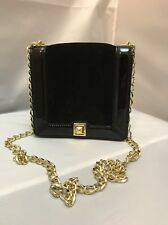 TALBOTS suede leather bag gold chain small clutch crossbody evening long black